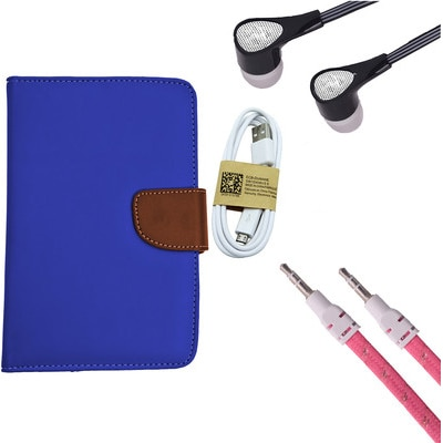 ASE 7 Inch Tablet Cover For IBall Slide Tab 3G With Handsfree/Data Cable & Aux Cable (Blue)