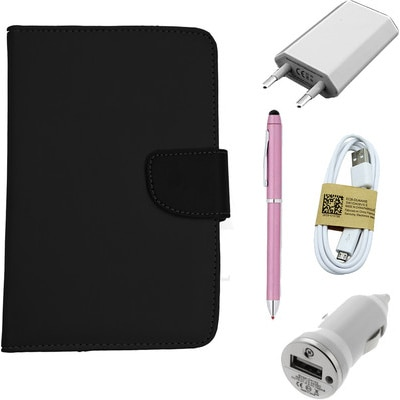 ASE 7 Inch Tablet Cover For IBall 3G Q7271 With USB Travel Charger/StylusPen/Data Cable &  Car Dock (Black)