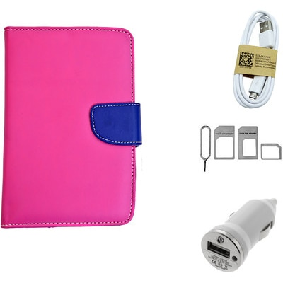 ASE 7 Inch Tablet Cover For IBall Slide Tab 3G With Noosy Sim Adapter/Data Cable And Car Dock (Pink)