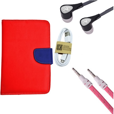 ASE 7 Inch Tablet Cover For IBall Slide Tab 3G With Handsfree/Data Cable & Aux Cable (Multicolor)