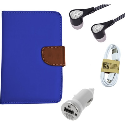 ASE 7 Inch Tablet Cover For IBall Slide Tab 3G With Handsfree/Data Cable & Car Dock (Blue)