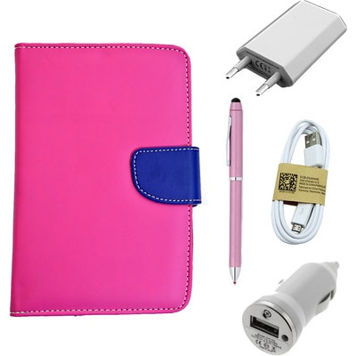 ASE 7 Inch Tablet Cover For IBall Slide Tab 3G With USB Travel Charger Stylus Pen Data Cable And Car Dock (Pink) (Pink)