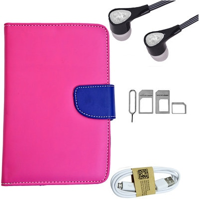 ASE 7 Inch Tablet Cover For IBall Slide Tab 3G With Handsfree/Data Cable And Noosy Sim Adapter (Pink)