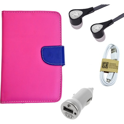ASE 7 Inch Tablet Cover For IBall Slide Tab 3G With Handsfree/Data Cable And Car Dock (Pink)