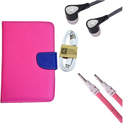 ASE 7 Inch Tablet Cover For IBall Slide Tab 3G With Handsfree/Data Cable And AUX Cable (Pink)