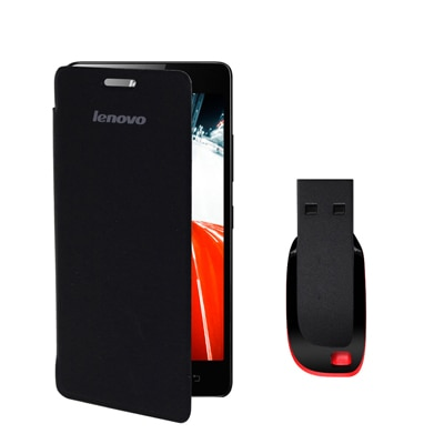 Hermit Flip Cover For Lenovo A6000 (Green) With Combo Of Sandisk 8Gb Pen Drive