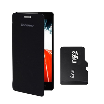 Hermit Flip Cover For Lenovo A6000 (Green) With Combo Of Sandisk 4Gb Memory Card