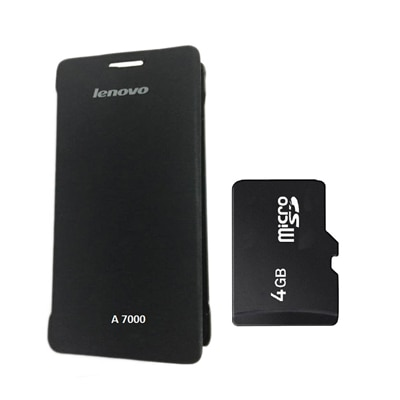 Hermit Flip Cover For Lenovo A7000 (Black) With Combo Of Sandisk 4Gb Memory Card