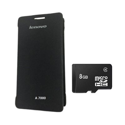 Hermit Flip Cover For Lenovo A7000 (Black) With Combo Of Sandisk 8Gb Memory Card