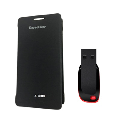 Hermit Flip Cover For Lenovo A7000 (Black) With Combo Of Sandisk 8Gb Pen Drive