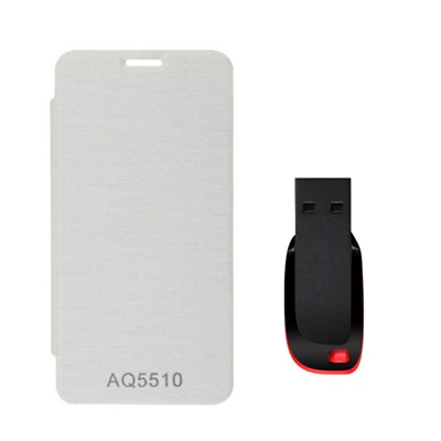 Hermit Flip Cover For Micromax YU Yureka AQ5510 (Red) With Combo Of Sandisk 8Gb Pen Drive