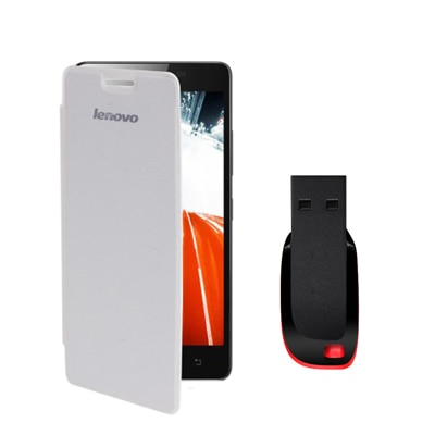 Hermit Flip Cover For Lenovo A6000 (Pink) With Combo Of Sandisk 8Gb Pen Drive