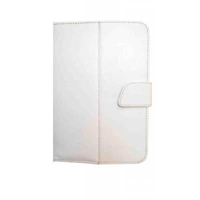 J & A Flip Cover For VOX 3G 7 Inch V102 Dual SIM Calling Tablet (White)