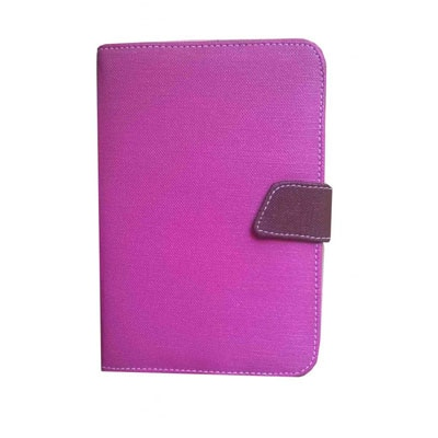 J & A Universal Flip Cover For Mitashi Play BE-101 (Pink & Brown)