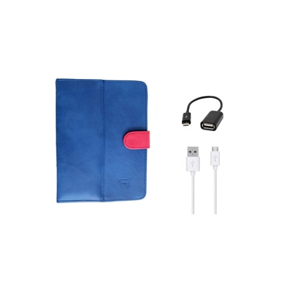 Kanu Book Cover And Data Cable For IBall 3G 7271 HD70 (Blue)