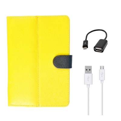 Kanu Book Cover With IBall 3G 7271 HD70 (Yellow) With Green AUX Cable/Micro USB Data Cable/OTG Cable