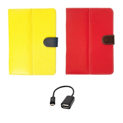 Kanu Book Cover With IBall 3G 7271 HD70 (Yellow) Micro USB Data Cable/OTG Cable