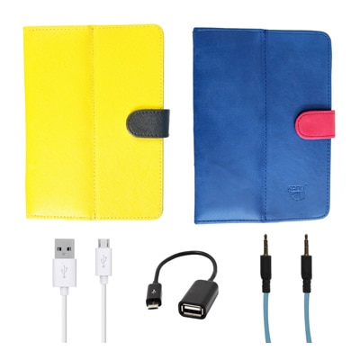 Kanu Book Cover With IBall 3G 7271 HD70 (Yellow & Blue) With Blue AUX Cable/Micro USB Data Cable/OTG Cable