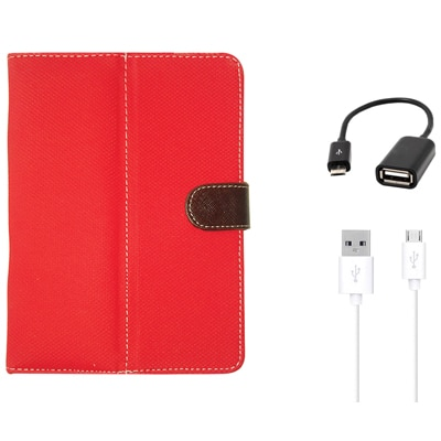 Kanu Book Cover For IBall 3G 7271HD70 (Red) With OTG And Data Cable