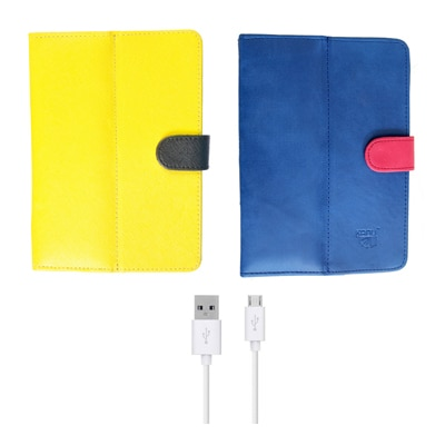 Kanu Book Cover With IBall 3G 7271 HD70 (Yellow & Red)With Data Cable/OTG Cable