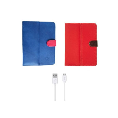 Kanu Book Cover And Data Cable For IBall 3G 7271 HD70 (Blue & Red)