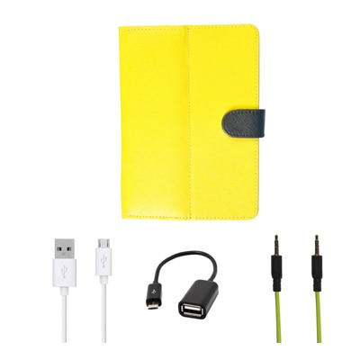 Kanu Book Cover With IBall 3G 7271 HD70 (Yellow) With Blue AUX Cable/Micro USB Data Cable/OTG Cable