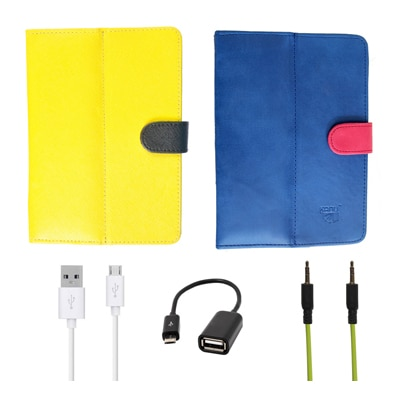 Kanu Book Cover With IBall 3G 7271 HD70 (Yellow & Blue) With Green AUX Cable/Micro USB Data Cable/OTG Cable