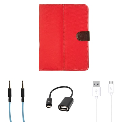 Kanu Book Cover For IBall 3G 7271 HD70 (Red) With AUX/OTG And Data Cable