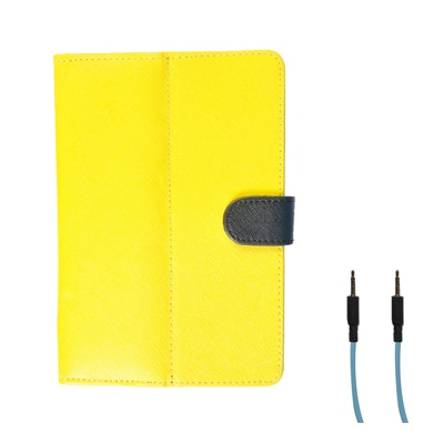 Kanu Book Cover With IBall Slide 3G Q7334 (Yellow)With Data Cable