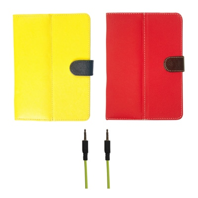 Kanu Book Cover With IBall 3G 7271 HD70 (Yellow & Red)With Data Cable
