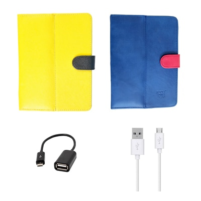 Kanu Book Cover With IBall 3G 7271 HD70 (Yellow & Blue)With Data Cable/OTG Cable