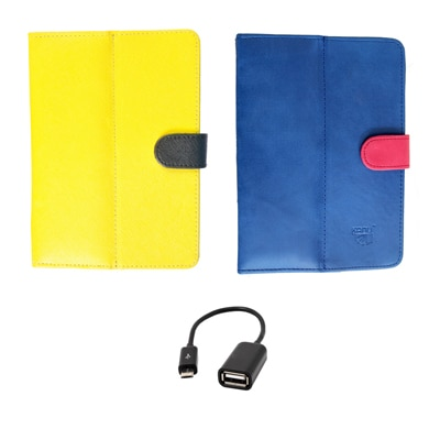 Kanu Book Cover With IBall 3G 7271 HD70 (Yellow & Red) With AUX Cable/Data Cable/OTG Cable