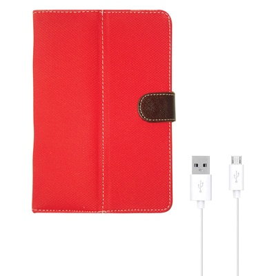 Kanu Book Cover For IBall 3G 7271 HD70 (Red) With Data Cable