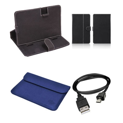 Mydress Mystyle Flip Cover For Mitashi Play Be 150 (Black & Blue) With Data Cable