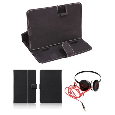Mydress Mystyle Flip Cover For Mitashi Play Be 150 (Black) With Headphone
