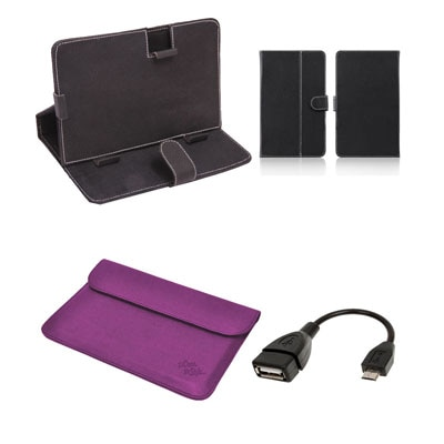 Mydress Mystyle Flip Cover For Mitashi Play Be 150 (Black & Purple) With OTG Cable
