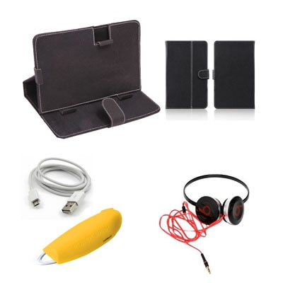 Mydress Mystyle Flip Cover For Mitashi Play Be 150 (Black) With Power Bank And Data Cable + Headphone