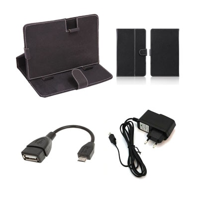 Mydress Mystyle Flip Cover For Mitashi Play Be 150 (Black) With OTG Cable And Charger