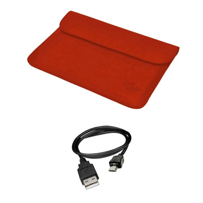 Mydress Mystyle Sleeve Case For Iball Slide 3G 9728 (Red) With Data Cable