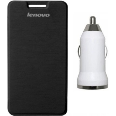 Tidel Flip Cover For Lenovo A6000 (Black) With Car Charger