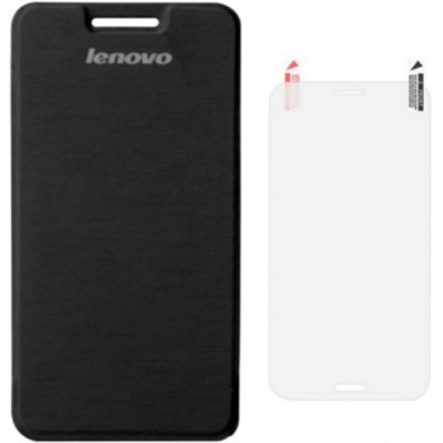 Tidel Flip Cover For Lenovo A6000 (Black) With Screen Guard