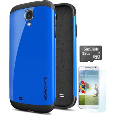 TOS Back Cover For Samsung Galaxy S4 With 32 GB MicroSD And ScreenGuard (Blue)