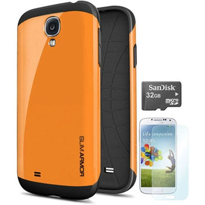 TOS Back Cover + Screen Guard For Samsung Galaxy S4 (Orange) + 32 GB Micro SD