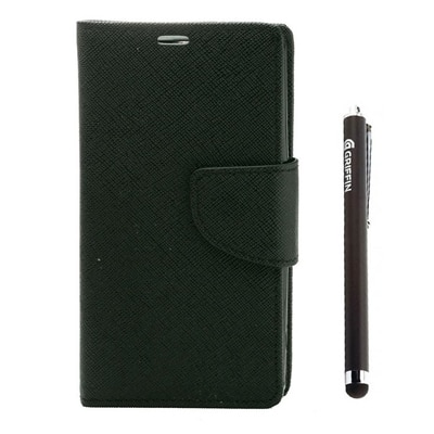 YGS Premium Book Cover For Samsung Galaxy Galaxy S4 I9500 (Black) With Griffin Stylus Pen