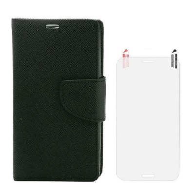 YGS Premium Book Cover For Samsung Galaxy Galaxy S4 I9500 (Black) With Screen Guard