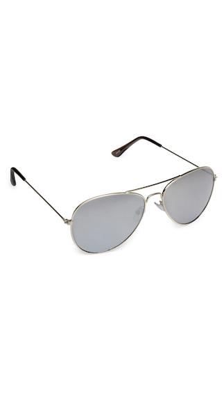 Vicbono Silver Aviator Sunglasses