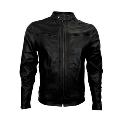 V4M Black Leather Biker Jacket