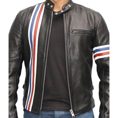 V4M Stylish Black Leather Biker Jacket