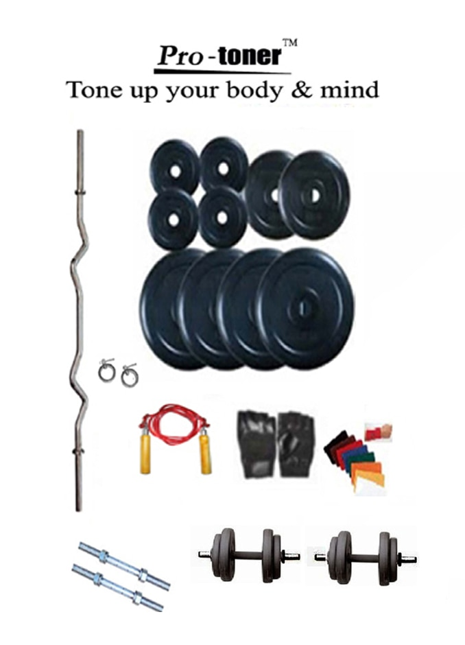 Protoner Home Gym Protoner Weight Lifting Package 32 Kg Protoner Weight + 3 Rods + Gloves