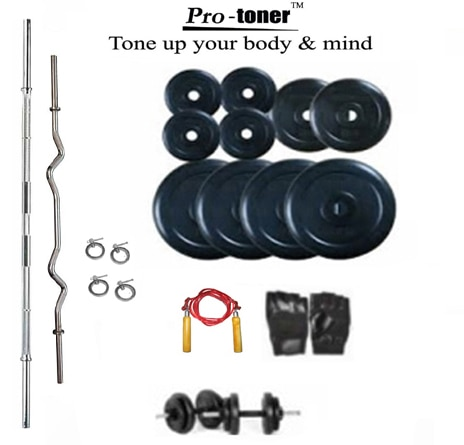 Protoner Home Gym Protoner Weight Lifting Package 60 Kg Protoner Weight + 4 Rods + Dumbells + Gloves
